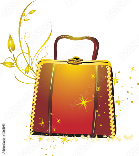 Womanish bag in a gift. Vector
