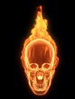 menschlicher schädel in flammen