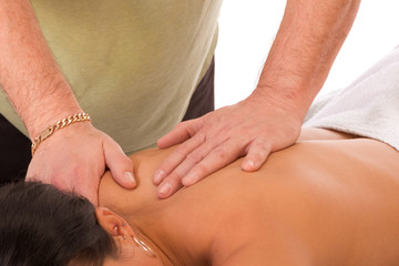 woman get massage treatment of her back in spa