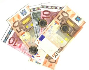 euro coins and banknotes isolated over white