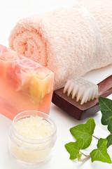 bath salt soap and brush