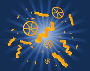 Flying pasta background