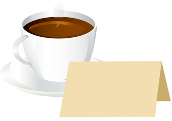 cup of black coffee with blank card