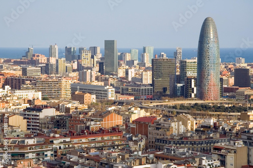 Bird view of the Agbar Tower in Barcelona (Spain)
