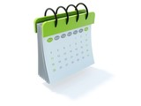 Fototapety Green calendar icon isolated on white