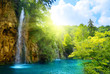 waterfalls in forest - 11386373