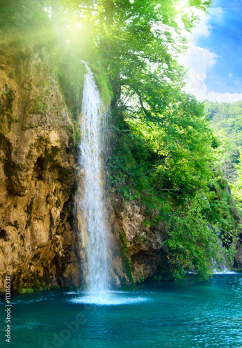 waterfall in deep forest - 11386331