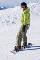 a female snowboarder