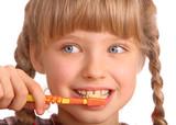 Fototapety Child clean brush one's teeth.