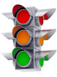 metall traffic lights on white background
