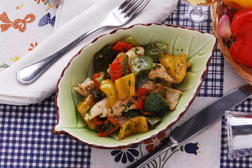 Spigola ai peperoni - Secondi di pesce - Cucina Toscana