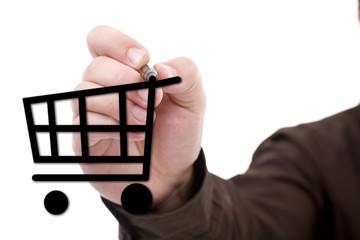 Hand drawing a shopping cart
