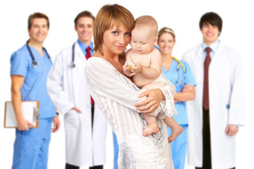 mother with baby, doctors
