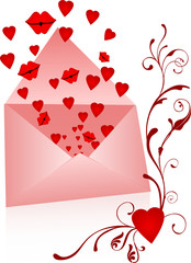 Envelope with kisses and hearts popping out