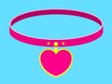 Collar/necklace with heart label poster