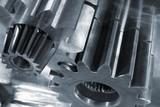 steel blue gear parts poster