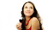 beautiful dreamy woman with a glass of vine poster