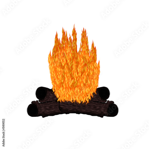 Pardise Island - Campfire Cartoon - Isolated On White
