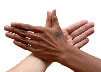 African and Caucasian hand united