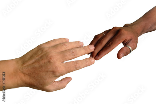 African and Caucasian fingers touching