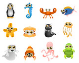 marine life vector - cartoon series 6 poster