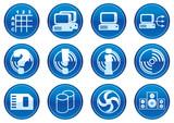 Gadget icons set. White - dark blue palette. Vector. poster