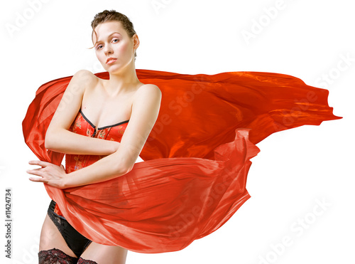 Woman with red cloth on white background