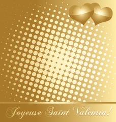 Carte dorée saint valentin