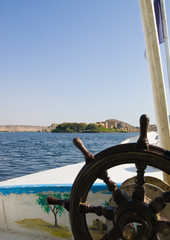 View of Philae Island from a boat. Egypt series