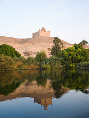 The Agha Khan mausoleum reflected in Nile river. Egypt series