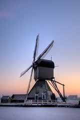 Dutch windmill in the evening sun.
