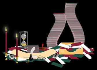 illustration of Santas mailroom on black