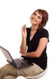 Happy businesswoman just had a brilliant idea poster