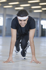 Young man doing sports workout