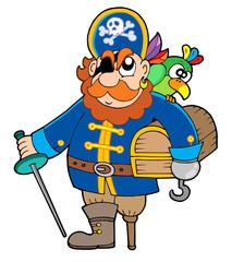 Pirate holding treasure chest