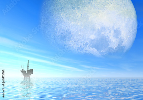 Oil rig under big day moon