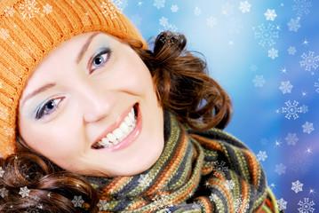 Happy teen in winter concept