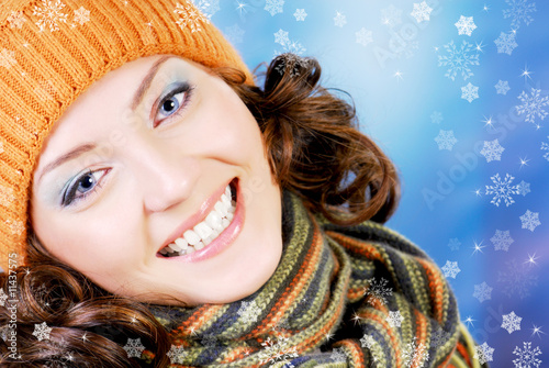 Happy teen in winter concept