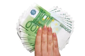 European money in hand
