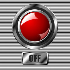 Red off interface round button over metallic surface