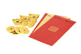 Chinese new year red packets and gold ingots poster