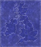 Blueprint style map of great britain poster