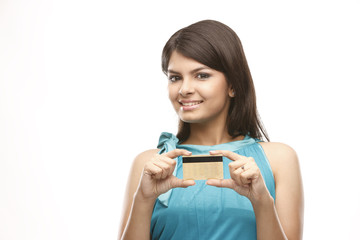 Teenage indian girl with the credit-card