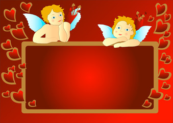 Cupids with red messageboard