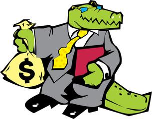 Crocodile in grey suit