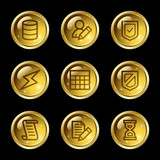Database web icons, gold glossy buttons series poster