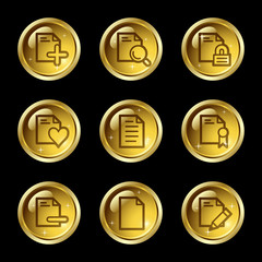 Document web icons, gold glossy buttons series set 2