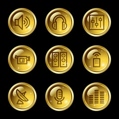 Media web icons, gold glossy buttons series