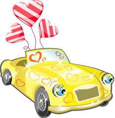 Car with hearts cartoon
