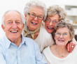 Portrait of older people smiling happily